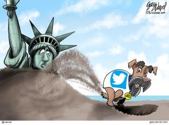 Editorial Cartoon U.S. Jack Dorsey Twitter democracy