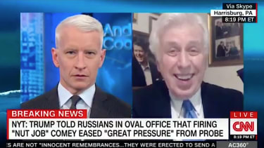 CNN host Anderson Cooper jokes with Jeffrey Lord