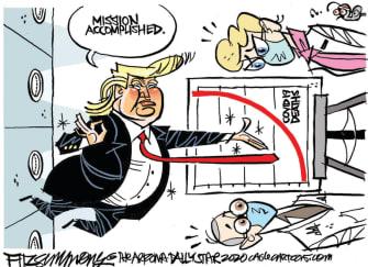Political Cartoon U.S. Trump coronavirus deaths graph
