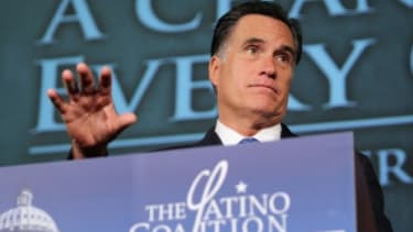 Mitt Romney addresses the Latino Coalition last week: Judging from a new poll, it might do the GOP presidential candidate some good to steer the conversation away from immigration and back to
