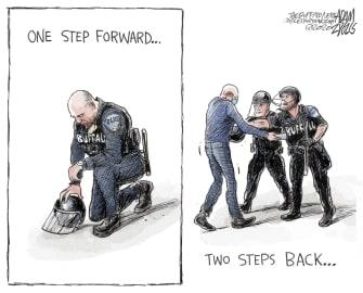 Editorial Cartoon U.S. Buffalo police brutality George Floyd protests