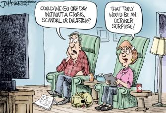 Editorial Cartoon U.S. news October surprise