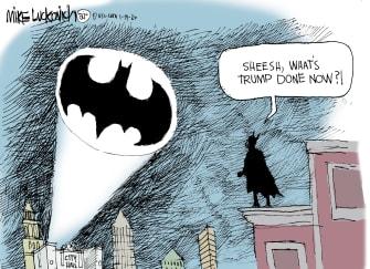 Political Cartoon U.S. Trump Batman dc comics