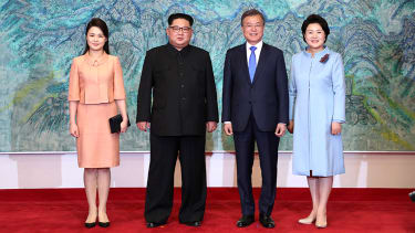 President Trump, Kim Jong Un and Moon Jae-in.