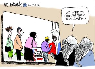 Political Cartoon U.S. Wisconsin GOP Coronavirus democratic primaries voting suppression