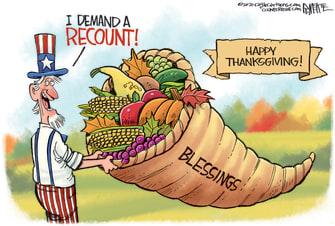 Editorial Cartoon U.S. Thanksgiving blessings