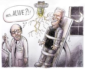 Political Cartoon U.S. Frankenstein Biden Buttigieg Klobuchar Harris DNC revival Bidenstein