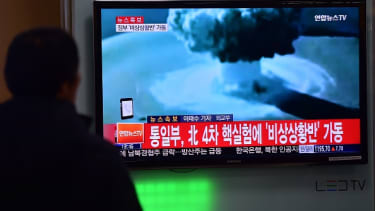 News footage of a North Korean bomb test.
