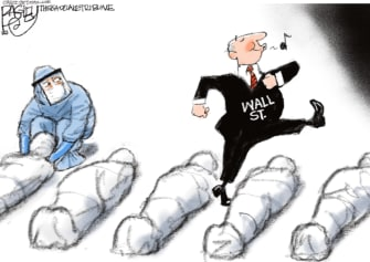 Editorial Cartoon U.S. wall street coronavirus deaths