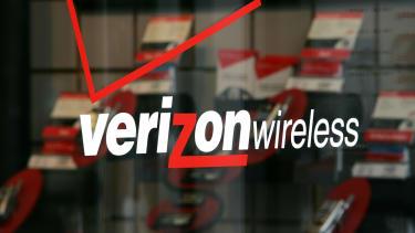 The Verizon logo at a store in California