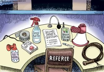 Political Cartoon U.S. Trump Biden debate