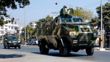 Military vehicles in Mandalay.
