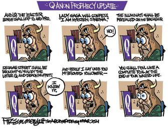 Political Cartoon U.S. q anon update