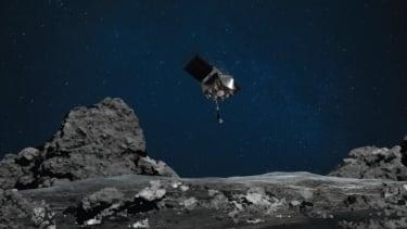 An illustration of OSIRIS-REx approaching Bennu.