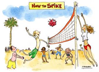 Editorial Cartoon U.S. spring break covid spike