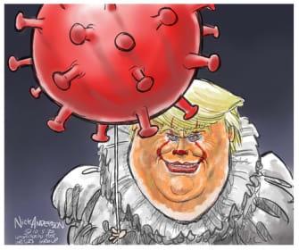 Political Cartoon U.S. Trump Pennywise COVID It
