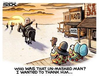 Political Cartoon U.S. lone ranger Pence no mask Mayo Clinic thanking