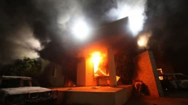 The U.S. Consulate in Benghazi is aflame during a violent protest on Sept. 11