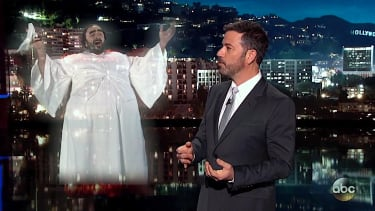 Jimmy Kimmel talks with the ghost of Luciano Pavarotti
