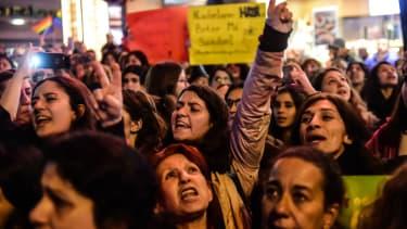 Turkey referendum protests.