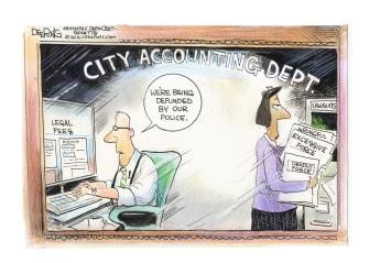 Editorial Cartoon U.S. defund police cities