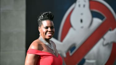Leslie Jones attends the Ghostbusters premier.
