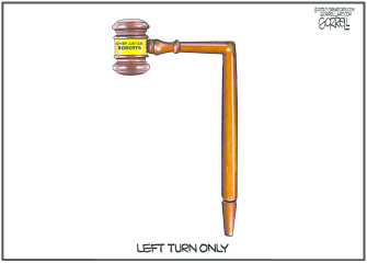 Political Cartoon U.S. Roberts Supreme Court left turn