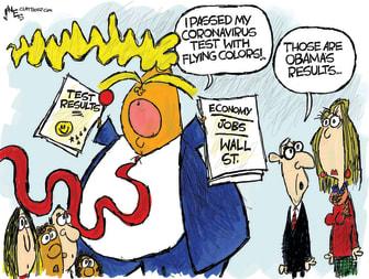 Political Cartoon U.S. Trump cheats steals Obama crisis test coronavirus fails