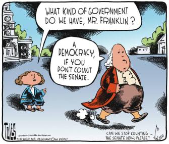 Political Cartoon U.S. Ben Franklin congress democracy