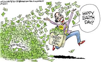 Political Cartoon U.S. AOC earth day