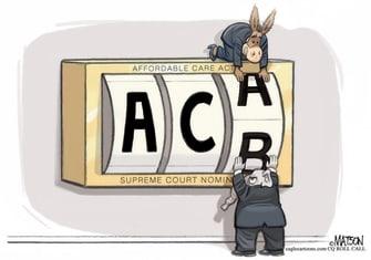 Political Cartoon U.S. Amy Coney Barrett Affordable Care Act Democrats GOP