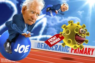 Political Cartoon U.S. Biden Coronavirus frontrunner 2020 election democratic party