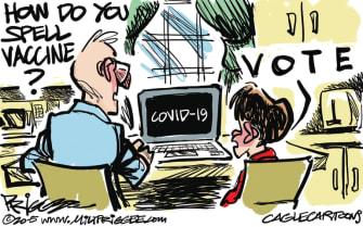Editorial Cartoon U.S. coronavirus vaccine voting 2020