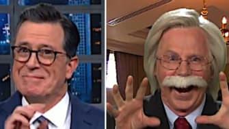 Stephen Colbert and Jimmy Kimmel fake John Bolton testimony