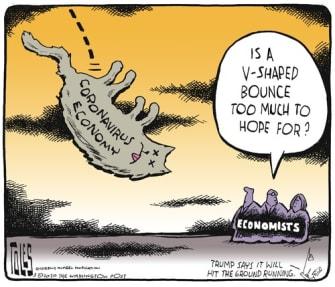 Editorial Cartoon U.S. coronavirus recovery v shaped
