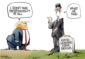 Political cartoon U.S. trump cuomo covid
