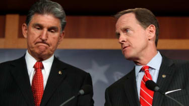 """""""We will not get the votes today,"""" said Sen. Joe Manchin (D-W.V.) (left)"""
