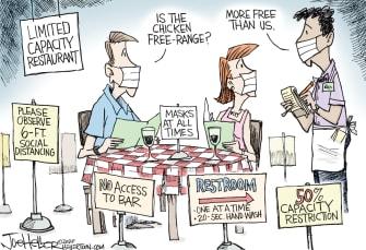 Editorial Cartoon U.S. restaurant restrictions coronavirus