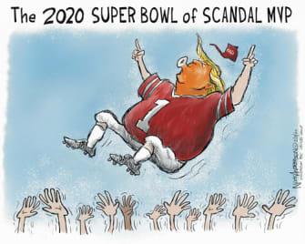 Political Cartoon U.S. Trump Super Bowl scandal MVP