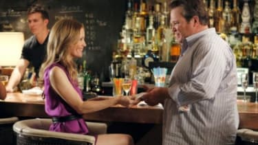 """In one arguably """"homophobic"""" episode of """"Modern Family,"""" Cam, who is gay, tries to prove his manliness by picking up a woman (Leslie Mann) at a bar."""