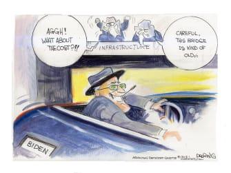 Political Cartoon U.S. biden fdr gop infrastructure