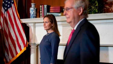 Senate Majority Leader Mitch McConnell and Amy Coney Barrett.