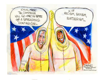 Political Cartoon U.S. Biden Harris covid 2020 election