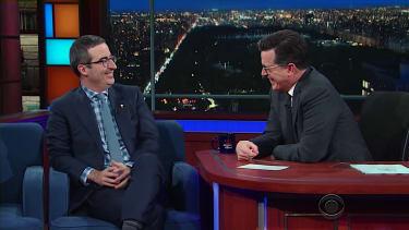 John Oliver and Stephen Colbert talk Trump, America, James Bond
