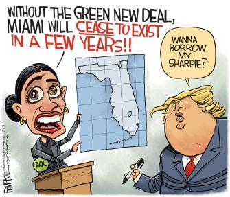 Political Cartoon U.S. Trump AOC Trump Miami Map Sharpie