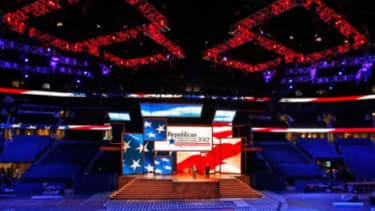 The centerpiece of the GOP convention is this stage, which will display montages of Mitt Romney's family on its 13 overlapping LED screens.