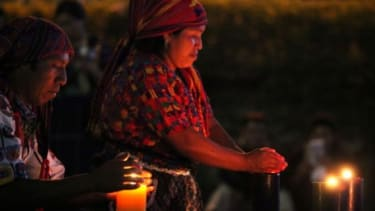 Indigenous Mayans during a ceremonial prayer to welcome the upcoming 13th Baktun, an end to the mayan calendar in December 2012.