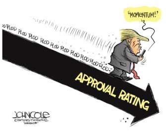 Political Cartoon U.S. Trump ramp polls momentum
