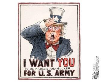 Political Cartoon U.S. Trump losers suckers Uncle Sam