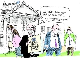 Political Cartoon U.S. Trump administration Obama coronavirus playbook